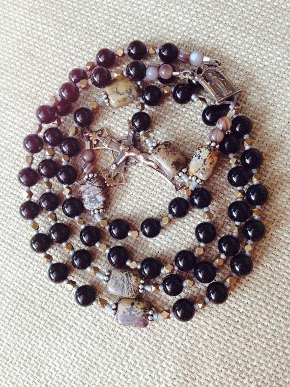 black onyx sterling gemstone rosary confirmation by