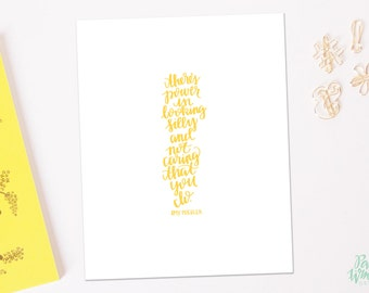 Looking Silly Amy Poehler Quote - Hand Lettered Print