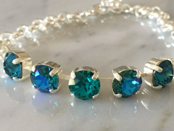 Blue Zircon Crystal Bracelet,  Indicolite Crystal Bracelet, Glacier Blue Crystal Bracelet, Swarovski Blue Crystal Bracelet