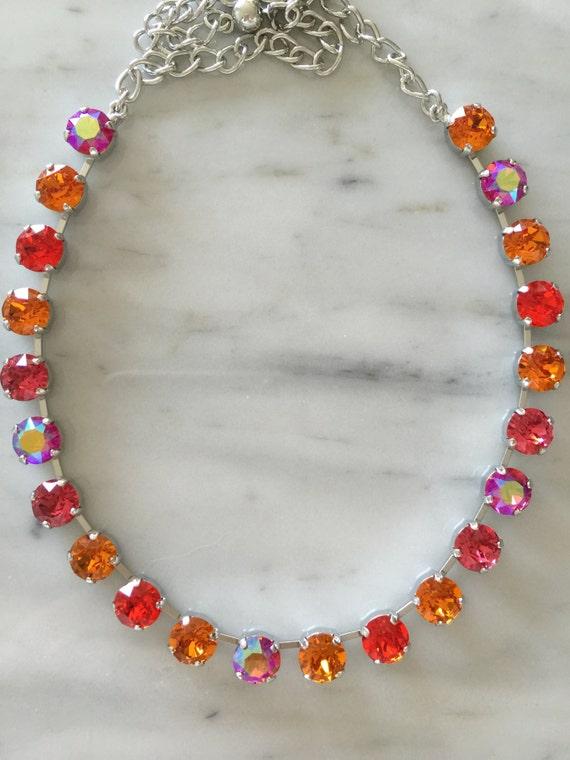 Swarovski Indian Pink, Tangerine, and Hyacinth Crystal Choker Necklace