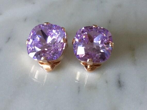 Medium Cushion Cut Swarovski Violet Purple Crystal Clip On Earrings