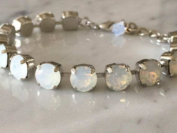 Crystal White Opal Bracelet,  Crystal Bridal Bracelet, White Opal Crystal Bracelet, Swarovski White Opal Bracelet