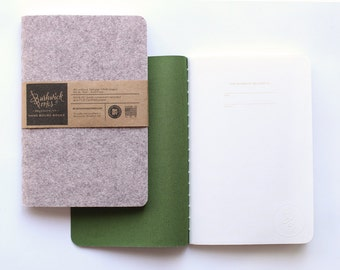 """Wool Felt & Rayon Cover Notebook Journal Sketchbook. WOOD - OLIVE Hand Sewn, 100% PC Recycled Paper 5.5"""" x 8.25"""""""