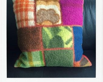 handmade cushion of vintage woolen blankets