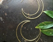 Crescent Moon Earrings, Bohemian Jewelry, Bohemian Earrings, Eclipse Earrings, Crescent Jewelry, Symbolic Jewelry, Hammered Gold Hoops