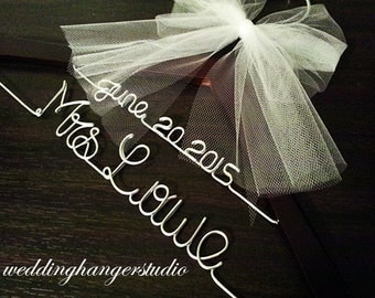 TWO LINE HANGERS: Personalized Bridal Hanger, Wedding Dress Hanger, Custom Wire Name Hanger, Bridal Gift