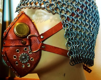Steampunk Respirator Mask - 100% Genuine Leather Steam Punk Accessory - Hand Made