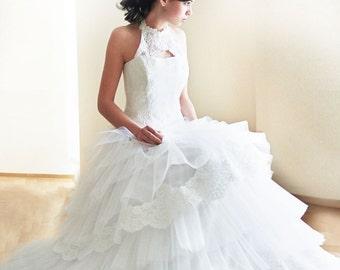 wedding dress-custom wedding dress-wedding dress with lace neckline-train wedding dress-romantic wedding dress- handmade in europe