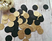 Gold and Black Confetti (200pc) Pink Gold Black Confetti Black Gold confetti Gold confetti Black Confetti Circle confetti Gold Shower