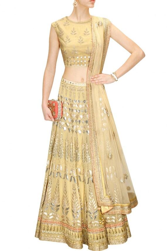 Golden Colour Bridal Wedding Lehenga Choli by PanacheHauteCouture