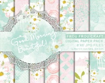 Birds Cage Digital Paper Pack Instant Download Watercolor Camomile Daisies Flowers Pink Green Blue Mint White Floral Romantic 6x6 inches