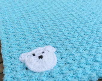 Crochet baby boy blanket Ready to ship