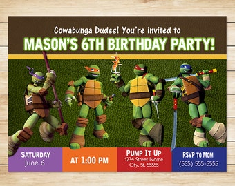 ON SALE Teenage Mutant Ninja Turtle Invitation // Teenage Mutant Ninja Turtle Birthday Party Invites // TMNT Party Favors