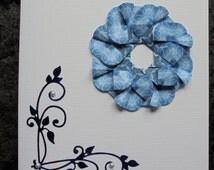 Tea bagging card. Paper folding card. Origami card. Paper engineering card. Origami wreath. Paper craft card. Paper wreath. Paper decoration