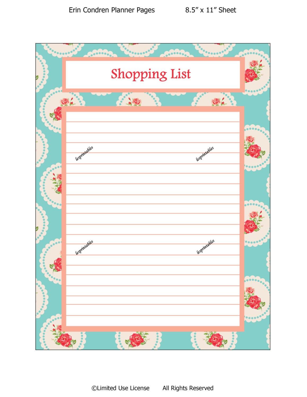 PRINTABLE-Shopping List-Erin Condren planner insert-planner mania-life ...