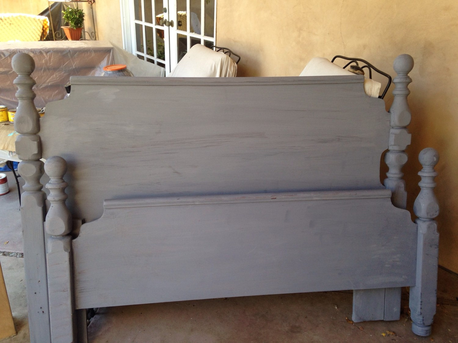 Grey gray chalk paint wood queen headboard footboard for Painted on headboard