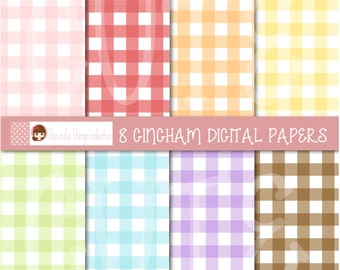 Gingham Vichy Square Digital Paper goods Pattern Background Scrapbooking Instant Download