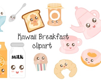 Digital Kawaii Breakfast Clipart Printable Instant Download PNG Scrapbooking Sticker Invitation Cards Commercial use