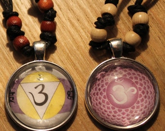 Third eye and crown chakra pendant necklaces