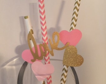 25 Paper Straws with Love