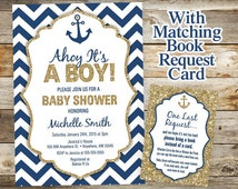 Nautical Baby Shower Invitation - Nautical Anchor Book Request Card - Glitter Boy Baby Nautical Shower Invitations