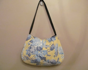Handmade Over the Shoulder Pleated Handbag Purse, Medium Yellow and Blue Floral