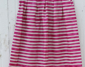 Pleated Pink Striped Skirt