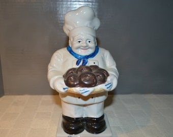 Entenmann's / Pastry chef bank / chocolate donuts / bank / chef / pastry / pastry chef / collectible / chef bank / white / blue /