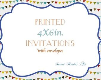 Invitation Printing Service// Printed 4x6 Invitations// envelopes