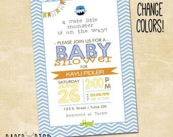 Little Monster Baby Shower Invitation, Custom Invite, Printable Invitation