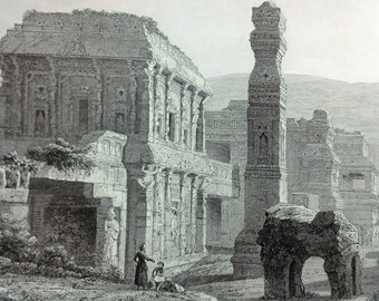 ca. 1870 - KAILASA  Ellora INDIA - S. Voegelin - Original Antique Vintage Steel Engraving Print Monuments Architecture - Over 140 years old
