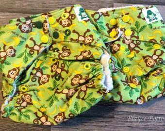 Monkey One Size Cloth Pocket Diaper