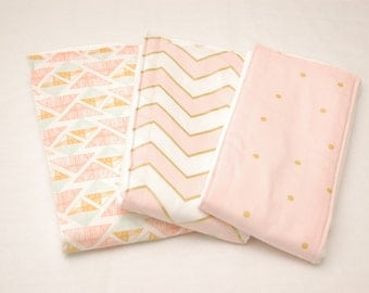 Girls Baby Burp Cloths/ Pink and Gold Chevron and Polka Dots Baby Burp Cloths: Set of 3/ Cloth Diapers/ New Baby Gift/ Baby Shower Gift