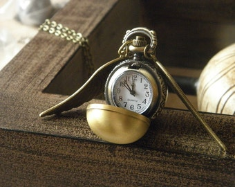 antique bronze harry potter golden snitch pocket watch necklace