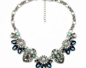 antique silver statement bib crystal dark blue flower necklace jewelry