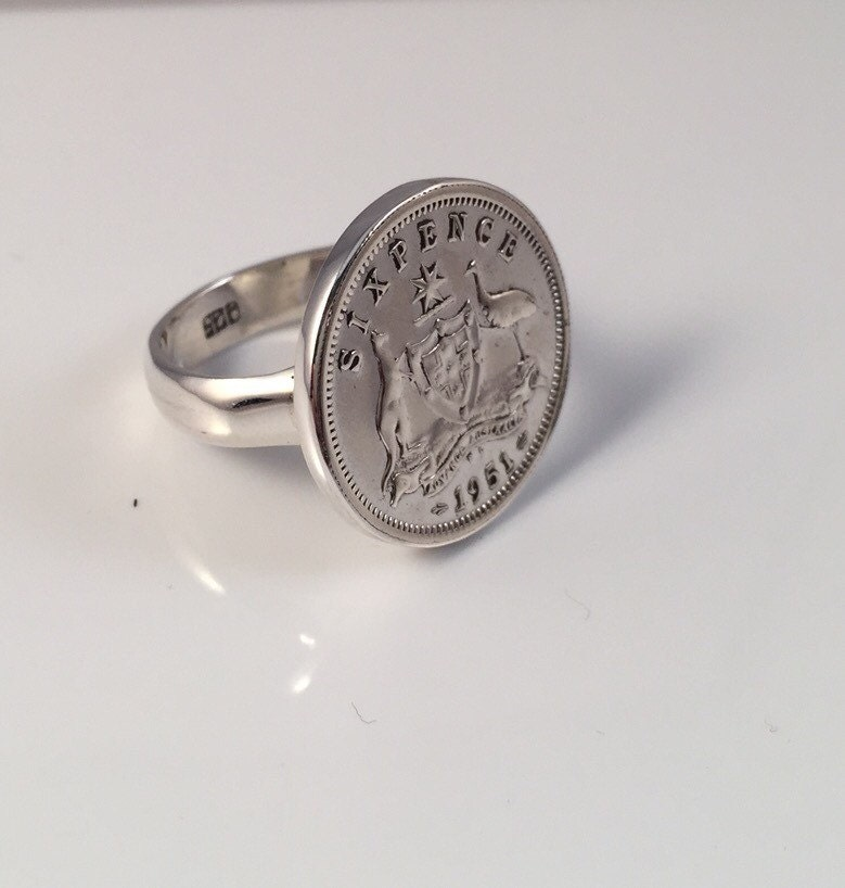 sixpence coin ring 925 silver casing australian 1948 1951