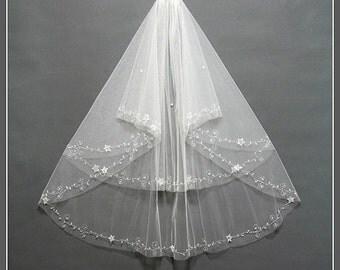Two Tier Bridal Veil, Wedding Veil, Ivory Wedding Veil, Elbow Length Bridal Veil, Elbow Wedding Veil, Bridal Veil Fingertip/ V002