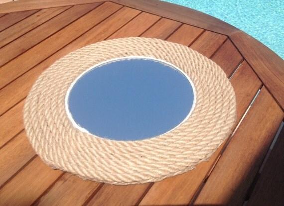 miroir rond corde nautical miroir miroir de par hippiefishbeachart. Black Bedroom Furniture Sets. Home Design Ideas