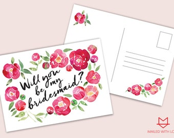 Be my Bridesmaid Postcard - Printable & Instant Download