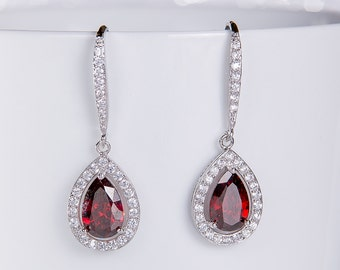 Red Wedding Earrings Zirconia Earrings Wedding Jewelry Bridesmaid Earrings Bridesmaid Accessories Dangling Teardrop Earrings stl150