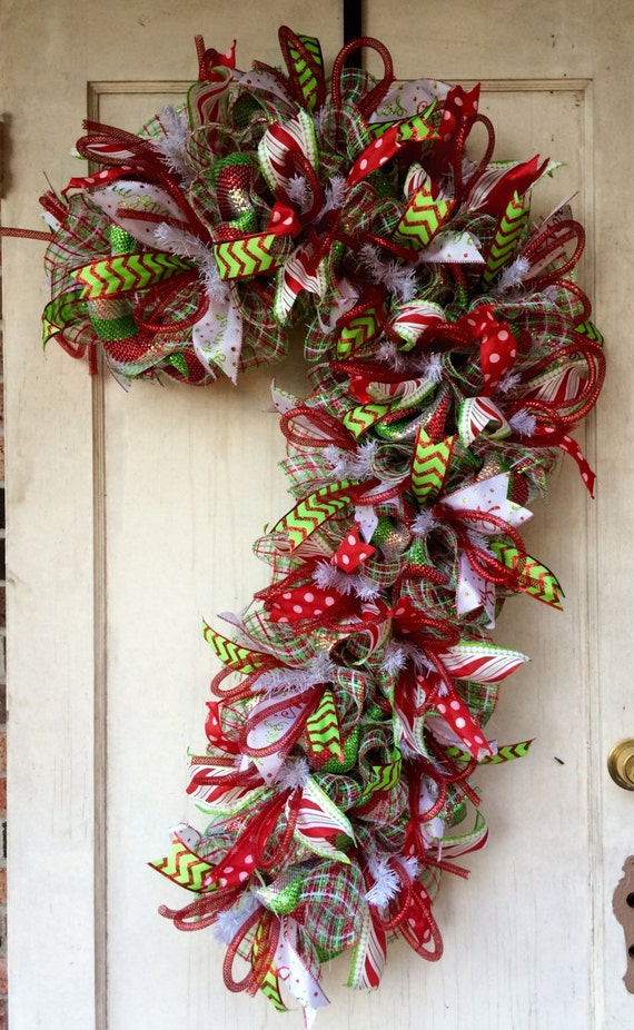 Mesh christmas wreath candy cane wreath deco mesh candy cane wreath