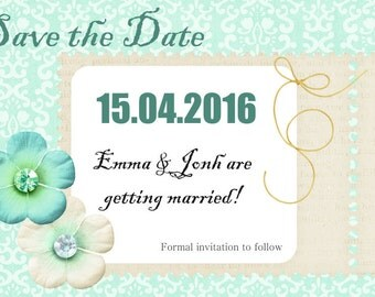 Sweet blue Save the Date card