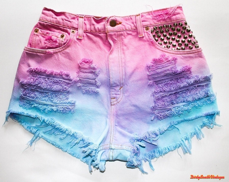 high waisted shorts summer tie dye all by