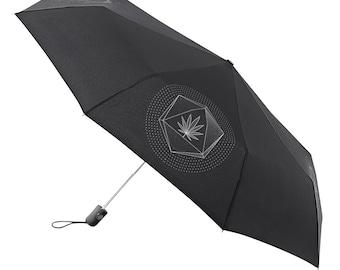 Umbrella Compact Folding Auto Open Close Graphic Hipster illustration Black