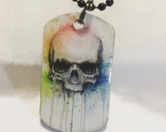 Skull necklace - skull dog tag necklace