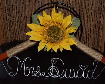 Sunflower Wedding Dress Hanger 1 LINE of TEXT,Personalized custom bridal hanger,Wedding hanger,Bridal Rustic Country Wedding,Bridal