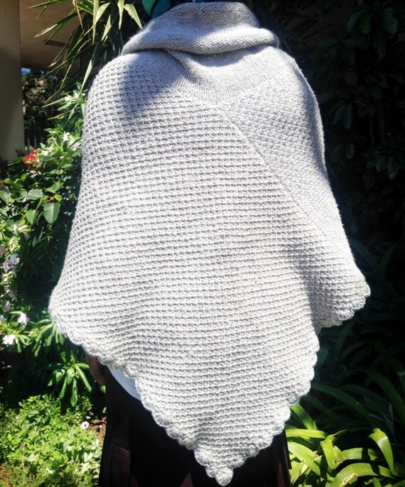 Knitting Pattern Poncho With Collar : Poncho Knitting Pattern PDF Warm and Toasty Asymmetrical ...
