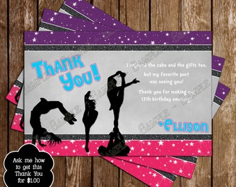 Cheer-Leading Cheer Team Birthday Party Thank You Card
