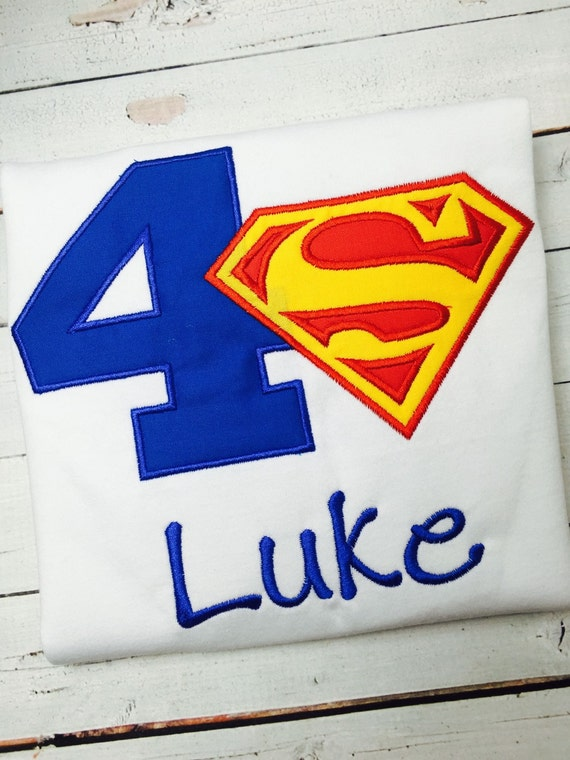 Superman birthday shirt super hero personalized for Make your own superman shirt