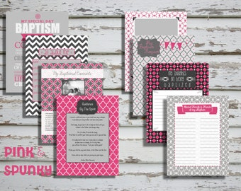 Pink & Spunky Girl LDS Baptism Printable Memory Book - Instant Download